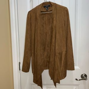 Forever 21 Tan Brown Suede Cardigan